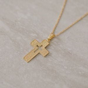Our Father Prayer Cross Necklace | 18k Gold Filled